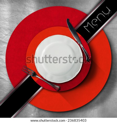 Restaurant Menu Design. Restaurant menu with empty plate and cutlery, on metal background with red and orange circles and black diagonal band and written menu - stock photo