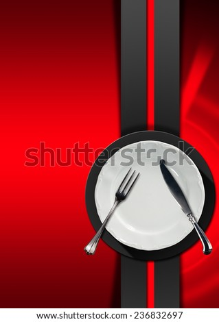 Restaurant Menu Design. Vertical restaurant menu with empty white plate and silver cutlery, fork and knife, on red background with grey and black circle and vertical band. - stock photo