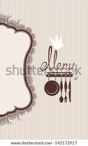 Restaurant menu design with lace table napkin and hand drawn text on stripe background. Raster version - stock photo