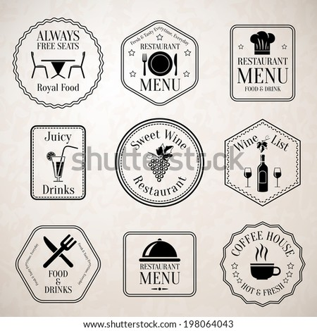 Restaurant menu food and drinks wine list black labels set with serving elements isolated  illustration - stock photo