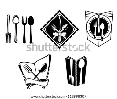 Restaurant menu icons and symbols set for food service design, such a logo. Vector version also available in gallery - stock photo
