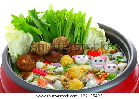 Restaurant menus in sukiyaki pot. - stock photo
