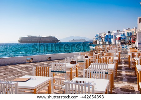 Restaurant near the sea at Little Venice on the island of Mykonos in Greece and shis - stock photo