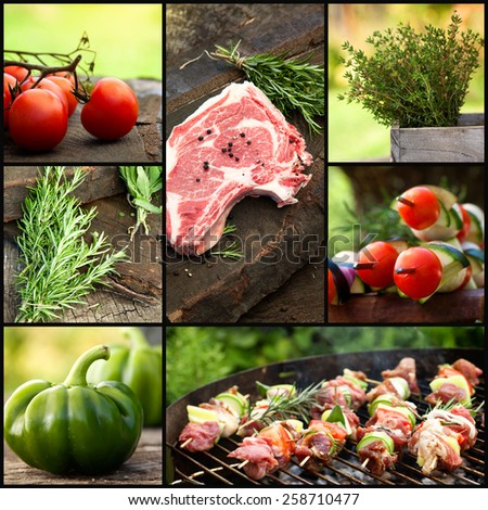 Restaurant series. Barbecue grill food collage. Fresh meat with herbs and vegetables. Grilled meat - stock photo