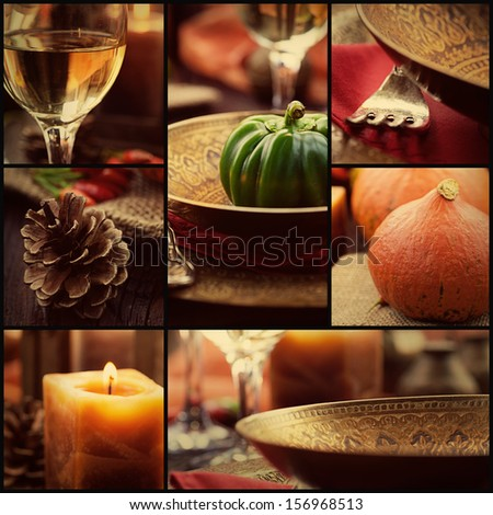 Restaurant series. Collage of autumn place setting.  Fall season fruit, pumpkins, plates, wine and candles.Luxury dining - stock photo