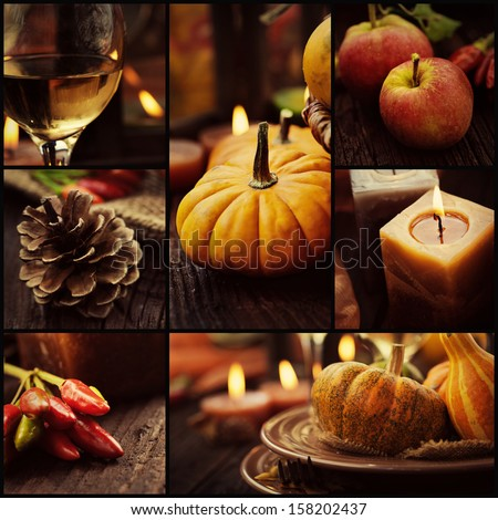Restaurant series. Collage of autumn place setting.   Thanksgiving dinner. Fall season fruit, pumpkins, plates, wine and candles. Thanksgiving dinner - stock photo