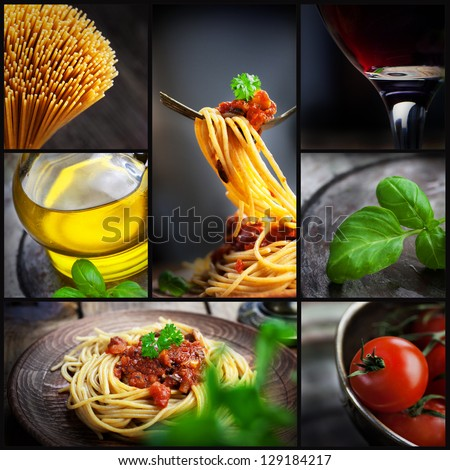 Restaurant series. Collage of pasta with tomato sauce and olives. Italian cooking with Spaghetti, ingredients, basil, wine and olive oil - stock photo