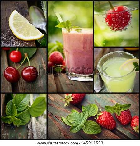 Restaurant series. Collage of summer Fruit drinks. Strawberry smoothie, lemonade and chery fizzy drinks with tropical fruit. - stock photo