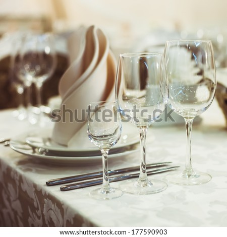 Restaurant serving on the table close up - stock photo