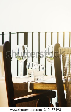 Restaurant Table Serving at Outside - stock photo