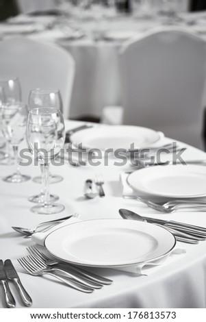 restaurant table setout - stock photo