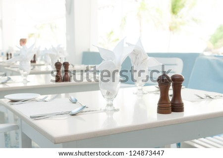 restaurant table setting before service - stock photo