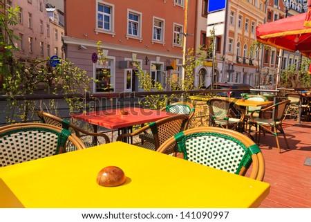 Restaurant Terrace on sunny day - stock photo