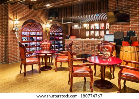 restaurant with wine decoration  - stock photo
