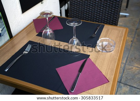 Restaurant wood table and chairs - stock photo