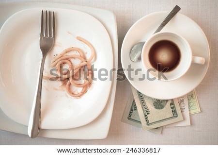 Restaurants check on the table after dinner and cash - stock photo