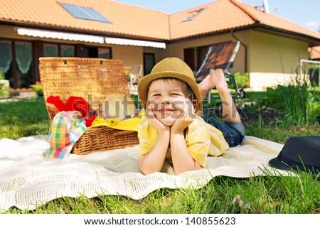 Resting boy - stock photo