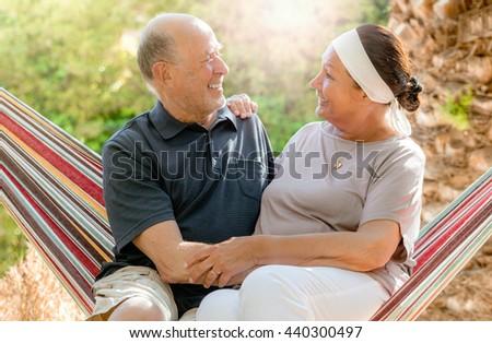 resting happy romantic senior couple  - stock photo