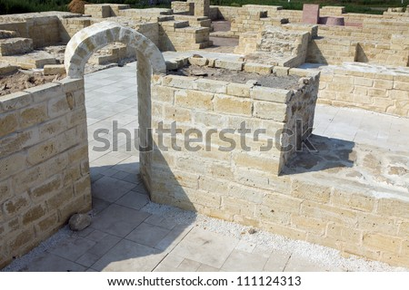 Restoration of ancient buildings - stock photo