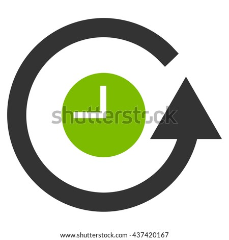 Restore Clock glyph icon. Style is bicolor flat icon symbol, eco green and gray colors, white background. - stock photo