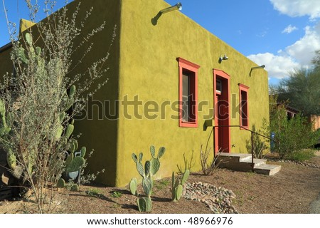 "restored adobe building in Tucson's ""Barrio Historico"" - stock photo"