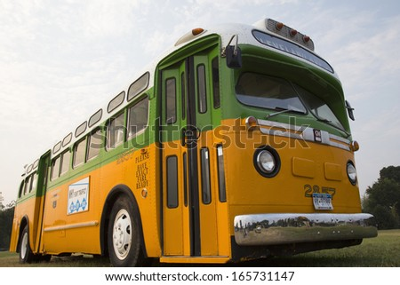 Restored bus Rosa Parks sat in December 1, 1955 from Montgomery Alabama on Cleveland Avenue, is seen in  Washington, D.C. National Mall, for the 50th Anniversary of the march on Washington  - stock photo