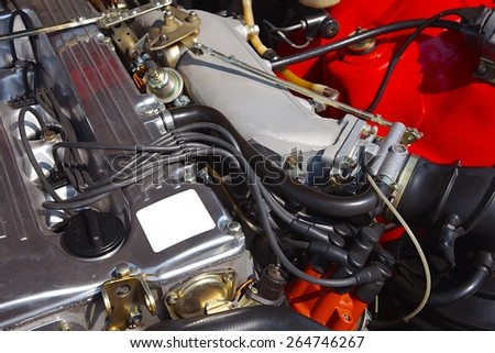 Restored engine of an old car - stock photo