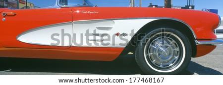 Restored red 1959 Corvette, fender close-up, Portland, Oregon - stock photo