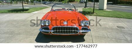 Restored red 1959 Corvette, front view, Portland, Oregon - stock photo
