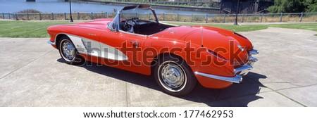 Restored red 1959 Corvette, side view, Portland, Oregon - stock photo