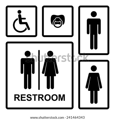Restroom icons with men,women isolated on a white background - stock photo