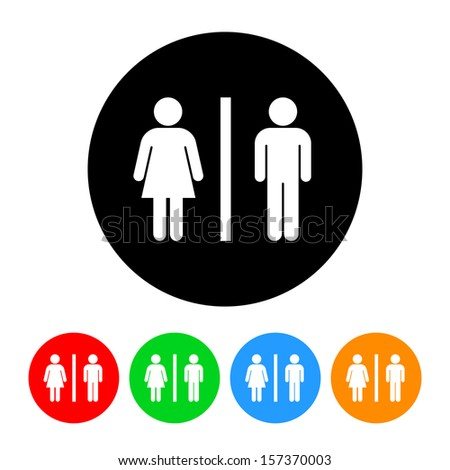 Restroom Male / Female Figures Symbol Icon with Color Variations.  Raster version. - stock photo