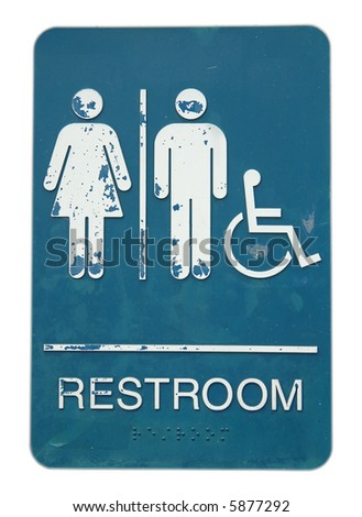 Restroom sign of unisex and disable, in isolated white background - stock photo