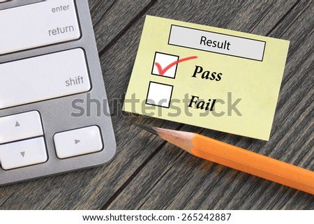 result concept showing pass - stock photo
