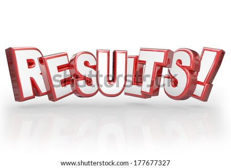 Results 3D Word Outcome Mission Goal Accomplished - stock photo
