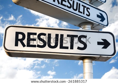 Results direction sign on sky background - stock photo