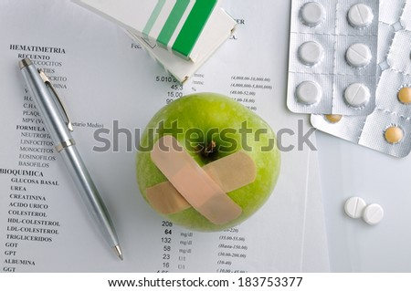 results of analysis and prescription drugs on a table top view - stock photo