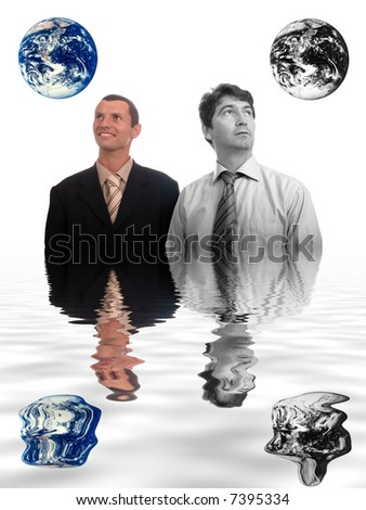 results of polution on earth (enviromental concept) - stock photo