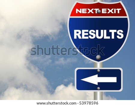 Results road sign - stock photo