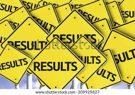 Results written on multiple road sign  - stock photo