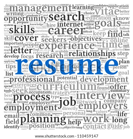 Resume concept in word tag cloud on white background - stock photo