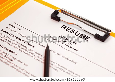 Resume in folder isolated on white background - stock photo