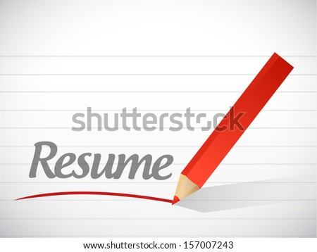 resume message written over a paper background - stock photo