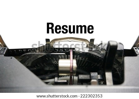 Resume on typewriter - stock photo