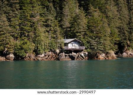 Resurrection Bay Cabin, Alaska - stock photo