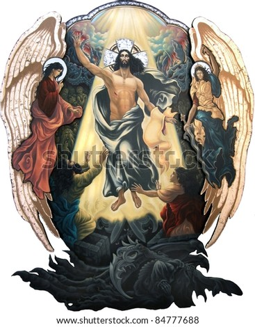 Resurrection of Christ (or the Descend to Hell in orthodox theology) - stock photo