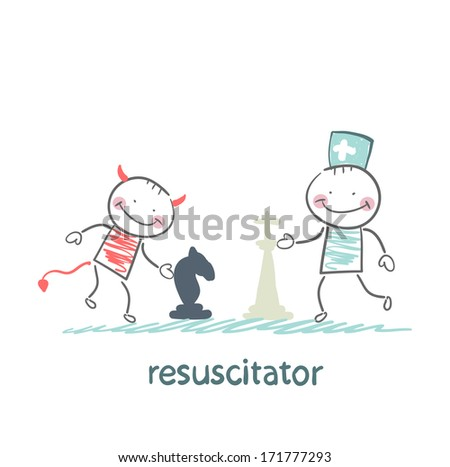 resuscitator carry on a stretcher patientresuscitator plays chess with the devil - stock photo