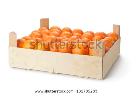 Retail crate of ripe tangerines. Isolated on a white. - stock photo