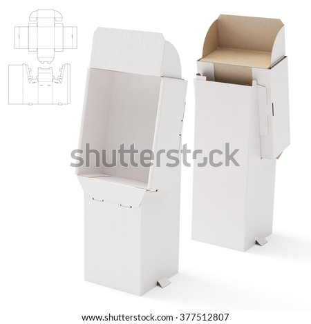Retail Shelf Display Box with Die Cut Template - stock photo