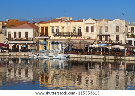 Rethymno city and the old Venetian port at Crete island in Greece - stock photo